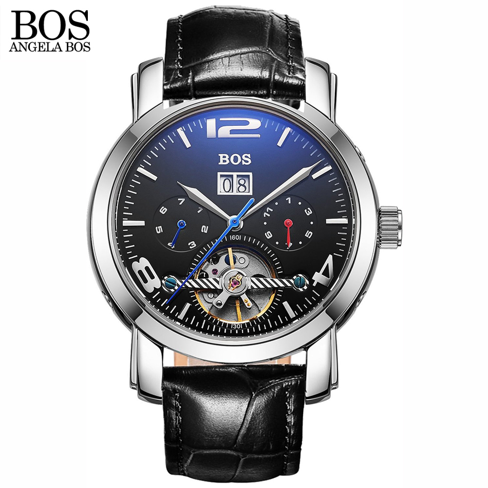 ANGELA BOS <font><b>Blu-ray</b></font> <font><b>Sapphire</b></font> fashion black luxury watch automatic skeleton men's watch leather Date Stainless Steel Brand For Men