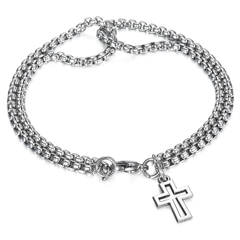 Davieslee Double Box Chain Bracelet For Men Steel Lion Horse Head Cross Charm Bracelet Male Jewelry Valentines Day Gifts Ldbm36 Agreeable To Taste Charm Bracelets Jewelry & Accessories