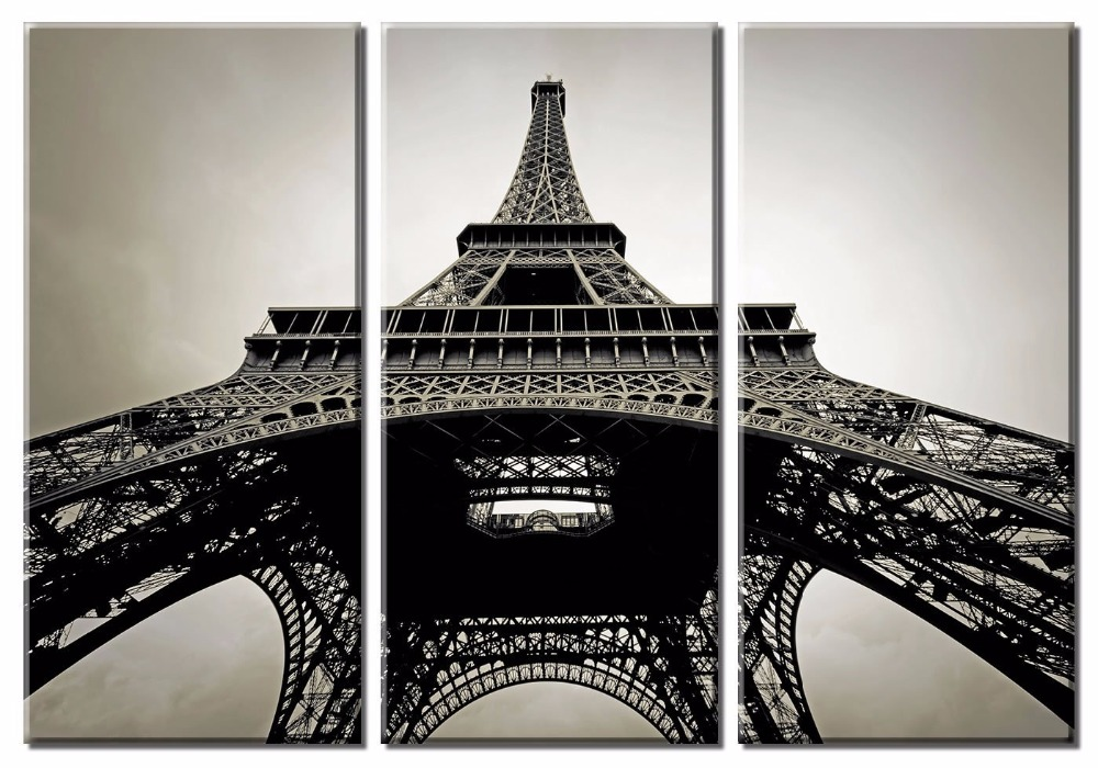3 Pieces Framed Black And White Eiffel Tower With Red
