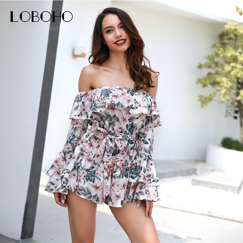 42a03953c4b2 Off Shoulder Women Rompers Summer 2018 Long Sleeve Floral Print Jumpsuit  Short Boho Style Dating Holiday