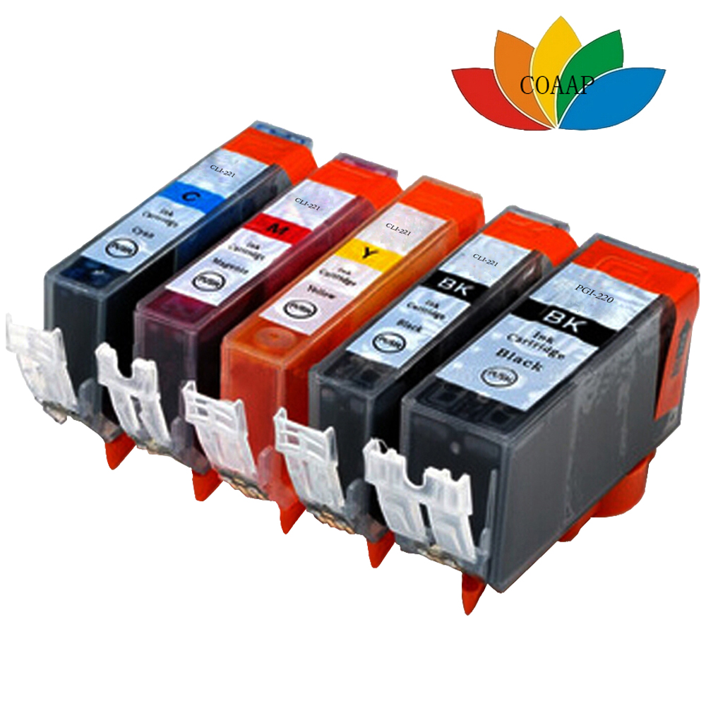 5pk PGI 220 CLI 221 compatible ink cartridge for <font><b>canon</b></font> <font><b>Pixma</b></font> <font><b>ip3600</b></font> ip4600 ip4700 MP560 MP620 MP630 MP640 MP990 MX860 MX870 image