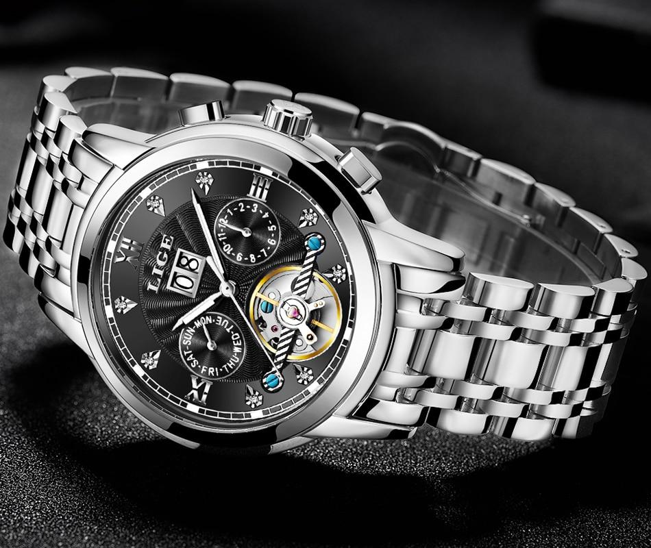 New LIGE Men Watches Male Top Brand Luxury Automatic Mechanical Watch Men Waterproof Full Steel Business Watch Relogio Masculino