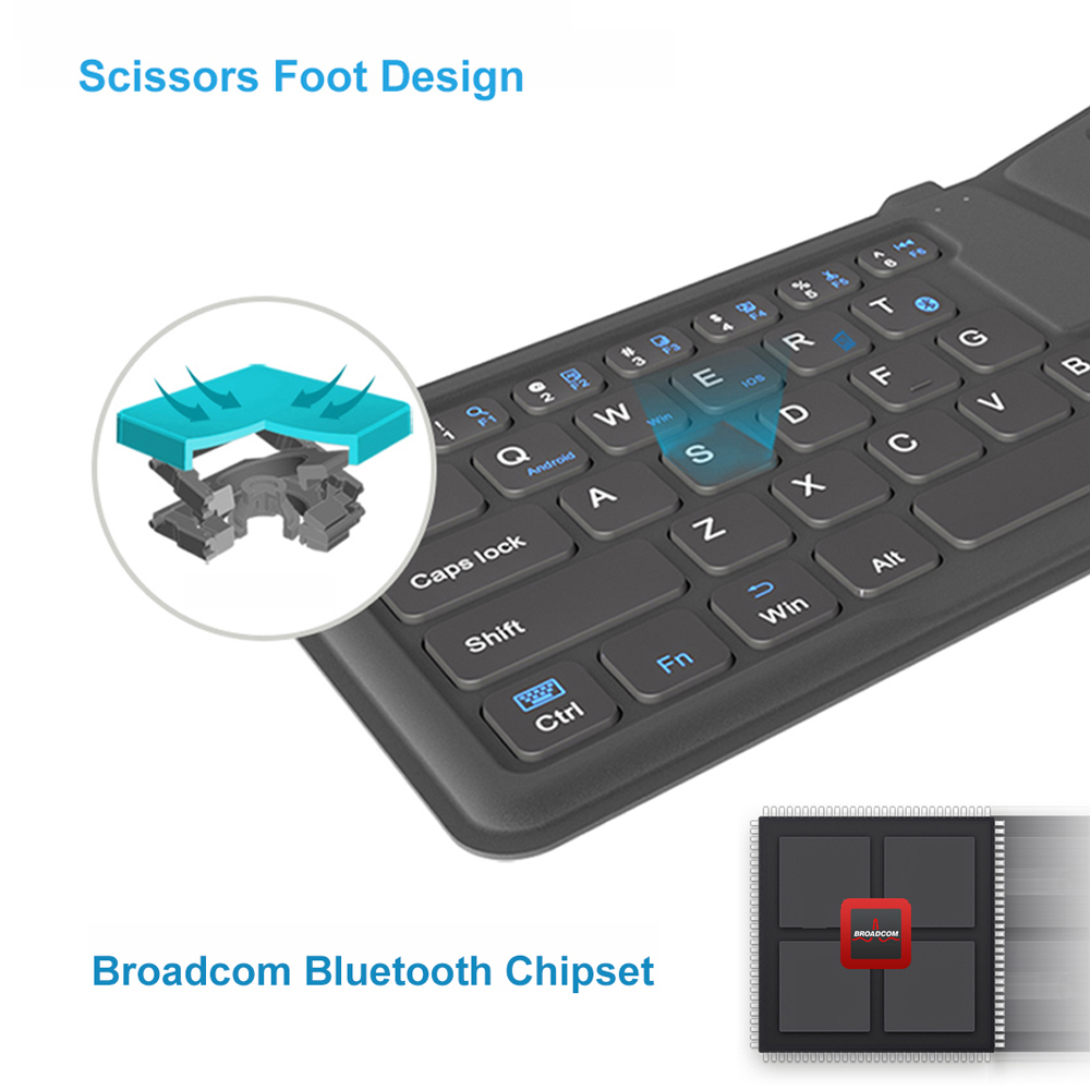 Image 5 - AVATTO B05 Portable Mini Folding Keyboard, Traval Bluetooth Foldable Wireless Keypad for iphone,Android phone,Tablet,ipad,PC-in Keyboards from Computer & Office