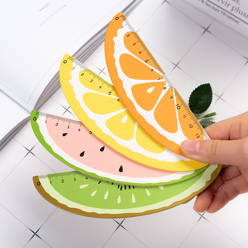 Cute 15cm Wood Straight Ruler Watermelon Orange Fruit Kawaii Promotion Wooden Rulers Gifts For School Stationery Wholesale