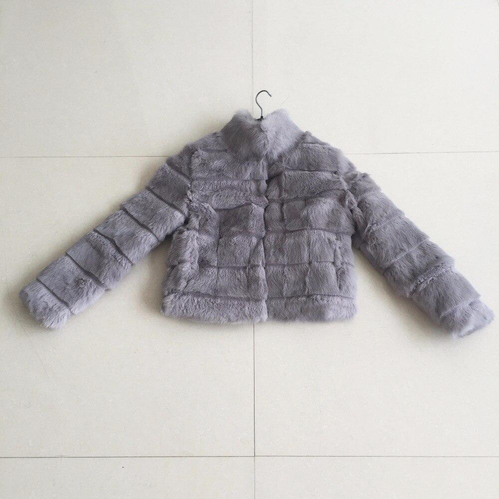 2019 nouveauté Standar collier naturel mince véritable lapin fourrure manteau cisaillement réel fourrure veste femme automne hiver nouveau KSR230