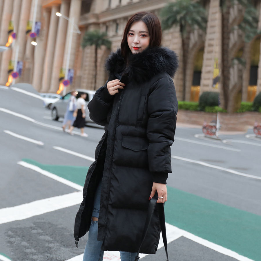 2019 Winter Down Jacket Women Long Black Fur Collar Hooded Slim Elegant Korean Warm   Parka   Coats New Casaco Feminino Inverno V876