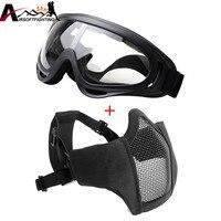 Airsoft Maskeleri-Ayarlanabilir Yarım Metal Çelik Hasır Yüz Maskesi Ve UV400 Taktik Av Paintball Çekim Için Gözlük Set