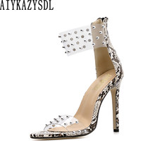 737ddb9bef46 AIYKAZYSDL Women Clear Transparent Strap Rivet Sandals Open Toe Concise  Faux Snake Print High Heels Fetish