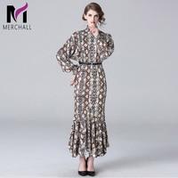 Merchall Fashion New Autumn Dress Women's High Quality Runway Designers Long Sleeve Retro Leopard Printed Slim Maxi Dress MC8005