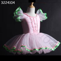 2018 new sexy fashion flying sleeve children girls pink princess dress ballet dance performance clothing free shipping hot sale