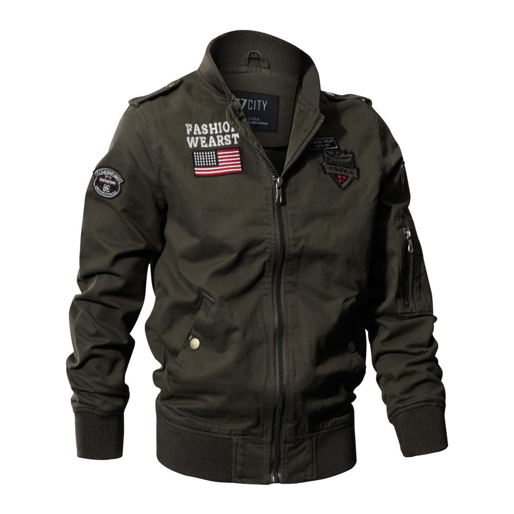 Militaire tactique veste nouveau 2018 hommes printemps automne US drapeau veste manteau armée pilote veste Air Force vol Cargo manteau taille M-4XL
