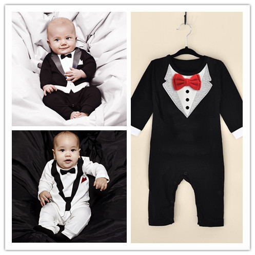 2015 New 100% pure cotton Baby Clothing Bow tie design Baby Romper Infantil babi boy jumpsuit Newborn Babies Rompers Free ship