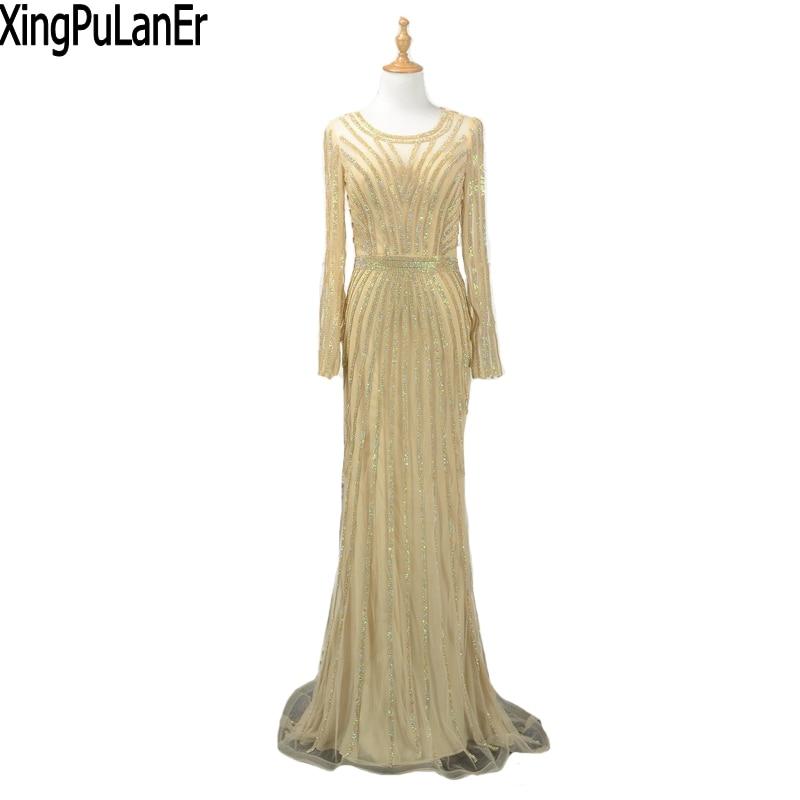 Xingpulaner Mermaid O Neck Long Sleeves Full Gold Sequins Beaed Gold