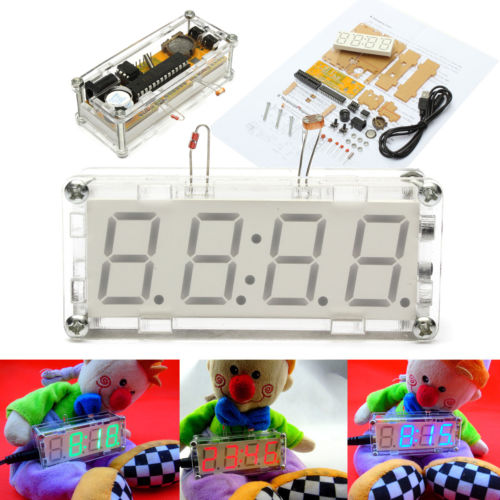 US $6 05 12% OFF|DIY Electronic Microcontroller Kit LED Digital Clock Time  Thermometer +case+power supply cable free shipping + tracking number-in