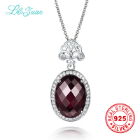 l&zuan 925 Sterling Silver Natural 8.35ct Garnet Rose Purple Stone Necklace & Pendant For Women Gift With Silver Chain