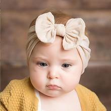 1pc Lovely Candy Color Cotton Bow Baby Girls Headband For Newborn Cute Elastic Head Band Toddler Head Wrap Hair Accessories m mism new cute 3pcs lace butterfly baby headband fashion hair accessories for newborn wristband foot ring photography head wrap