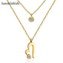LUXUKISSKIDS Gold/Silver Double Chain Necklace Stainless Steel Heart Pendant with CZ Crystal Double Necklaces for Women Set(China)