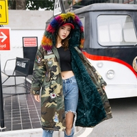 2017 Winter Coat Women Long Padded Jacket Camouflage Knee Couple Female Real Fur Collar Hooded Coats Student Harajuku Overcoat