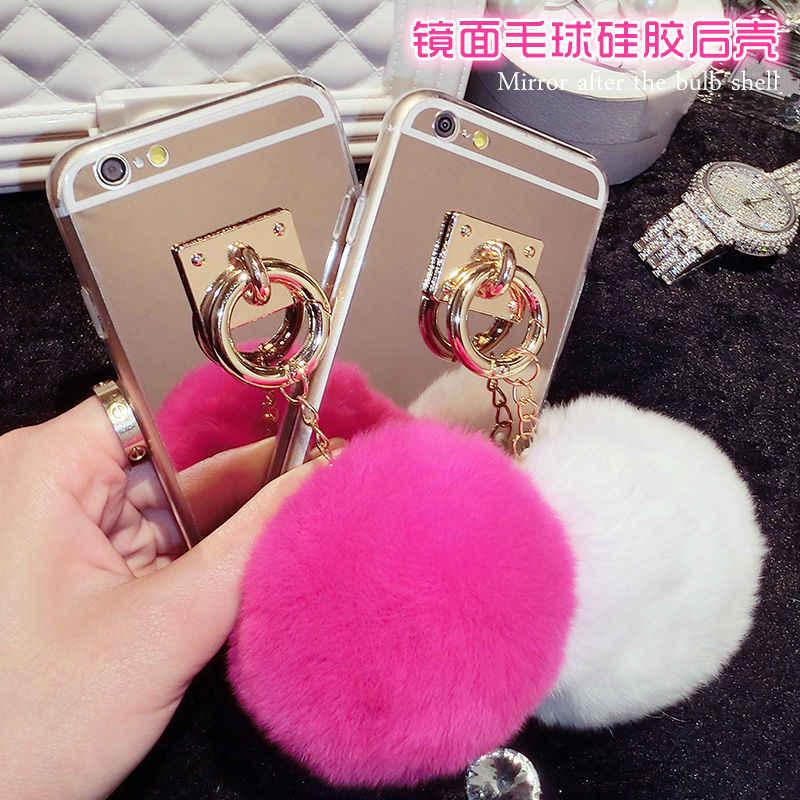 Strass bola de pêlo Pompom chaveiro espelho da tampa do caso para o iphone 5 5S SE 6 6 S 7 8 X ALÉM de