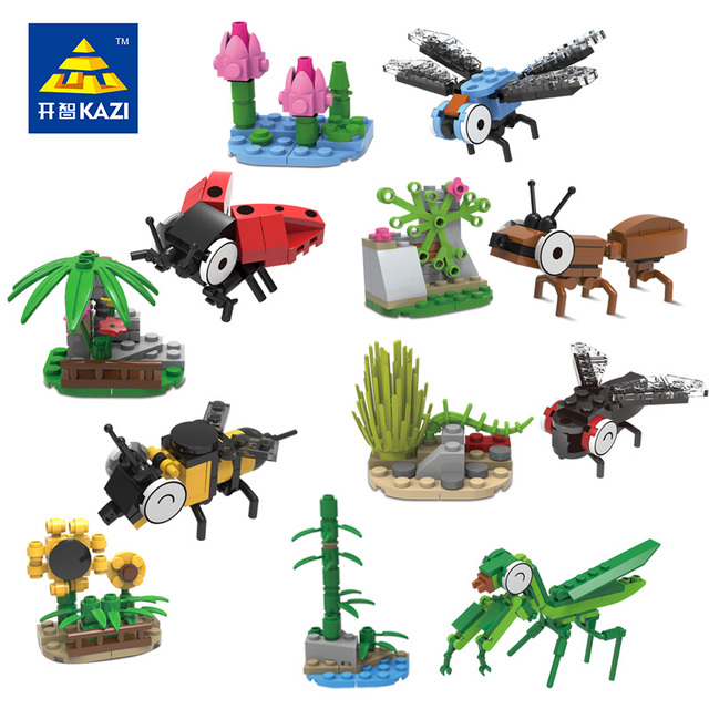 12 Pcs/Lot Model Building Kits Insects Animals United Miniature Scale Models Elementary Learning Education Playmobil Toys