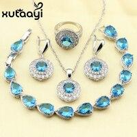 XUTAAYI Hot Selling 925 Zilveren Ronde 4 STKS Sieraden Set Blue Zirconia Oorbel Ketting Armband Hanger Ring Voor Vrouwen
