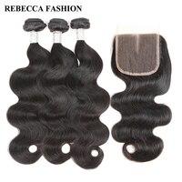 Rebecca Brazilian Body Wave 3 Bundles With Closure Remy Human Hair Bundles 4 PC Lot 4x4