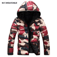 M.T.WOLFCHILD 2017 winter new style mens hooded clothing tops casual zipper coat fashion mens thick jacket camouflage hot sale