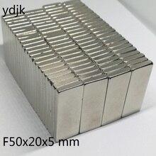 10 قطعة/الوحدة N35 مستطيلة المغناطيس 50x20x5 النيوديميوم المغناطيس 50*20*5 ندفيب المغناطيس 50x20x5