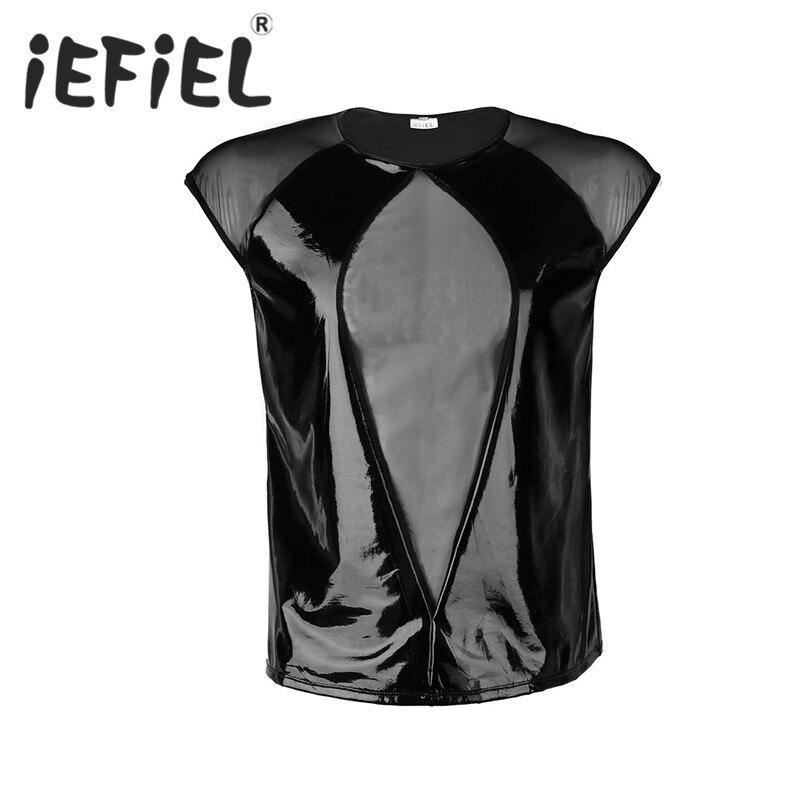 iEFiEL Mens Male Fashion Wetlook Faux Leather Cap Sleeves Mesh Splice Pullover T-shirt Clubwear Nightwear Costumes Men's T-Shirt