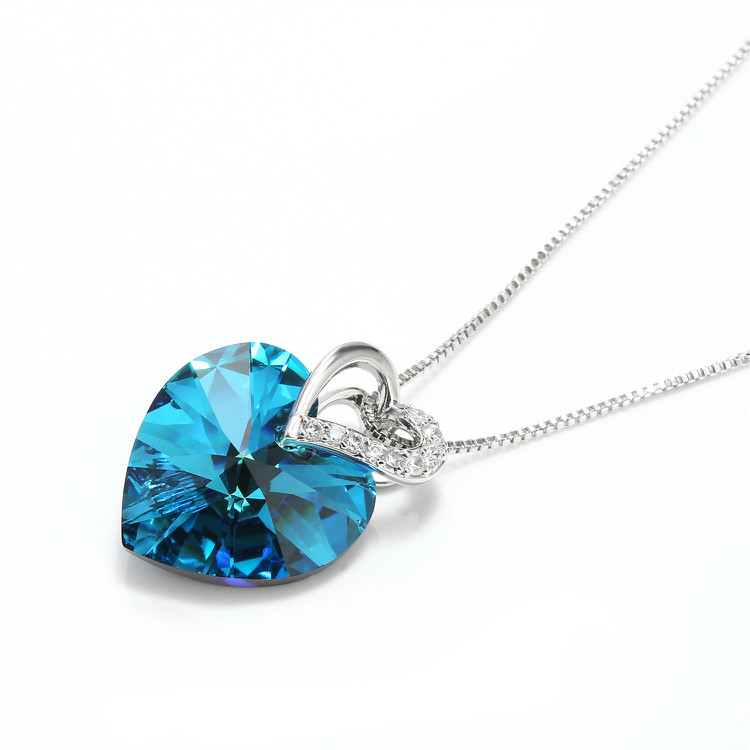 HTB1LD2jbrus3KVjSZKbq6xqkFXak Blue Heart Crystal Pendant Necklace for Women