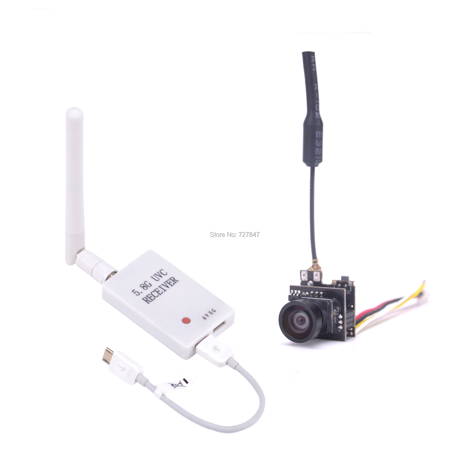 Mini 5.8G FPV Receiver UVC Video Downlink OTG VR + LST-S2 5.8G 800TVL / 48CH 25MW VTX 1000TVL FPV Camera Built-in Transmitter