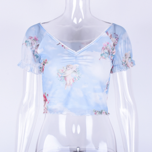Hugcitar cuello pico de manga corta de malla de impresión sexy Corte crop tops 2019 verano mujeres moda mujer fiesta streetwear camisetas