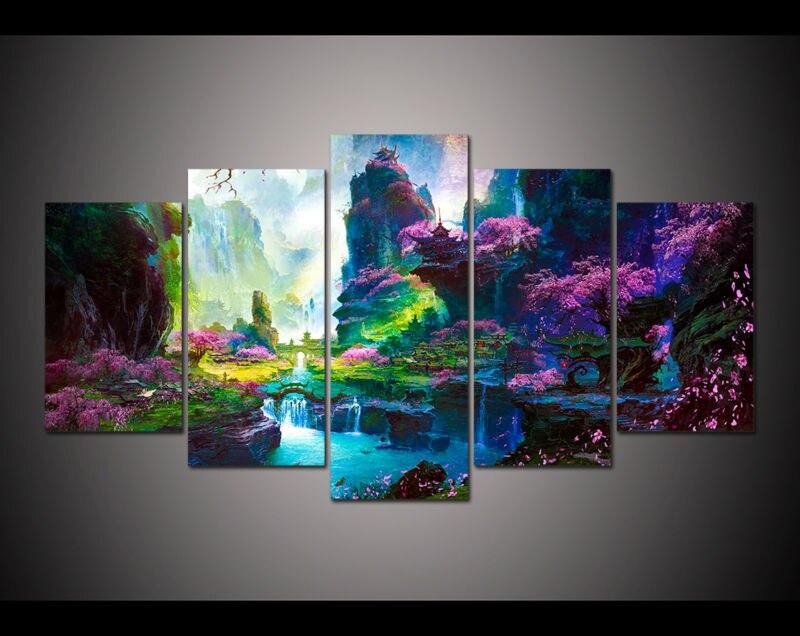 ₩5 panel grande HD impreso pintura al óleo hermoso sueño Sprint ...