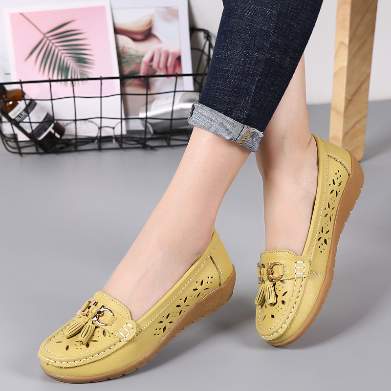 a3ee3366c20 DONGNANFENG Women Casual Mother Ladies Female Flats Shoes Hollow Slip  Loafers Cow Genuine Leather Summer Pigskin 35-41 JTS-5989