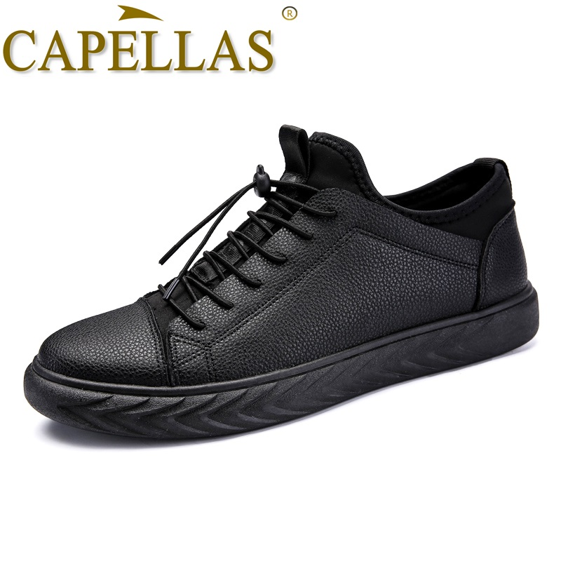 CAPELLAS New Men Leather Shoes Mens Fashion Casual Shoes Breathable Sport Designer Men`s Leather Shoes Size 39-44 Zapatos Hombre