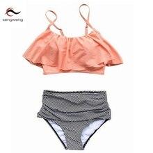 Verano 2016 Sexy Ruffle Push Up Bandeau Bikini Conjunto de La Vendimia de Talle Alto traje de Baño Raya traje de Baño Biquini Mujeres BathingSuit Beach