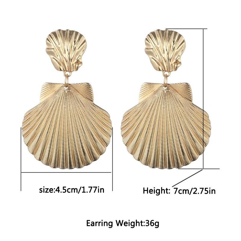 Cowrie Shell Earrings Women Gold Color Geometric Big Statement earrings 2019 Vintage boho drop dangling earings Fashion Jewelry in Drop Earrings from Jewelry Accessories