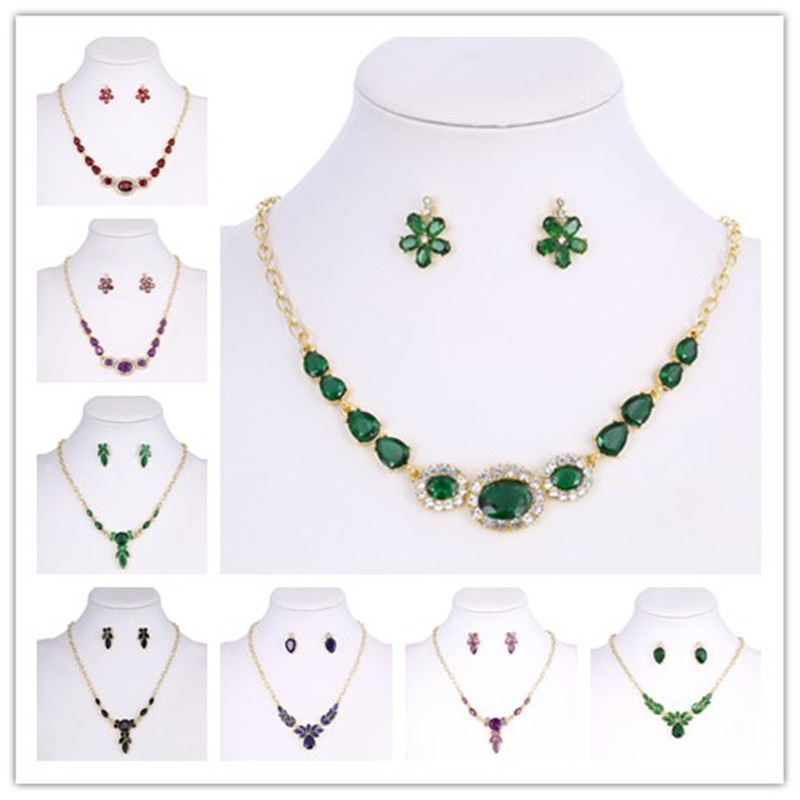 Hesiod Women Crystal Rhinestone Wedding Jewelry Set
