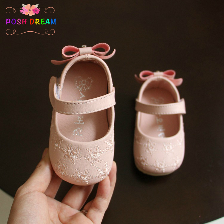 POSH DREAM Pink White Red Embroidered Baby Shoes 1-2 Year Toddler Baby Girls Soft Shoes Bow Tie Baby Girls' Single Shoes