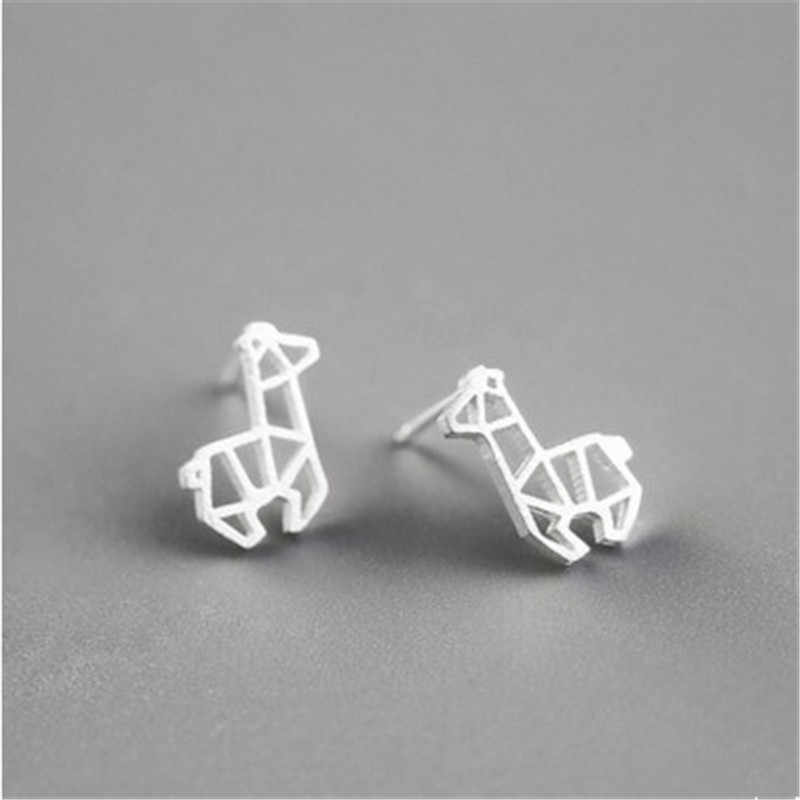 RONGQING 1Pair/lot Cute Hollow Jewelry Alpaca Stud Earrings Simple Animal Earring for Girls