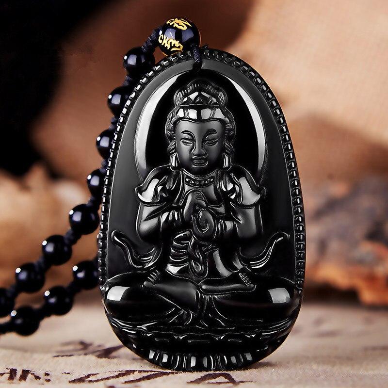 Բնական Բուդդա Սև Օբսիդիան Բուդդայի - Նուրբ զարդեր - Լուսանկար 3