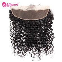 AliPearl włosów brazylijski głęboka fala koronki Frontal zamknięcie 13X4 z dzieckiem włosów ludzki włos część darmowe kolor 1b remy włosy darmowa wysyłka