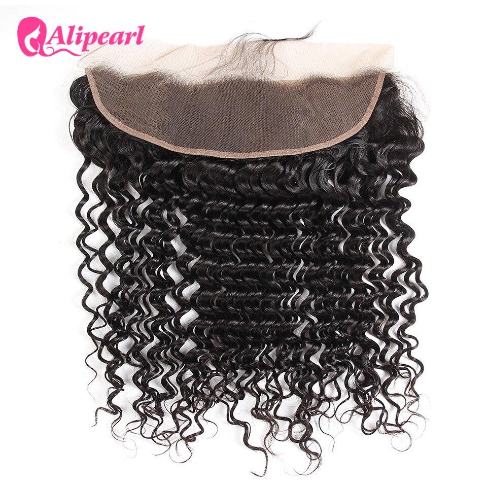 Alipearl cabelo brasileiro onda profunda rendas frontal encerramento 13x4 com cabelo do bebê cabelo humano parte livre cor 1b remy cabelo frete grátis