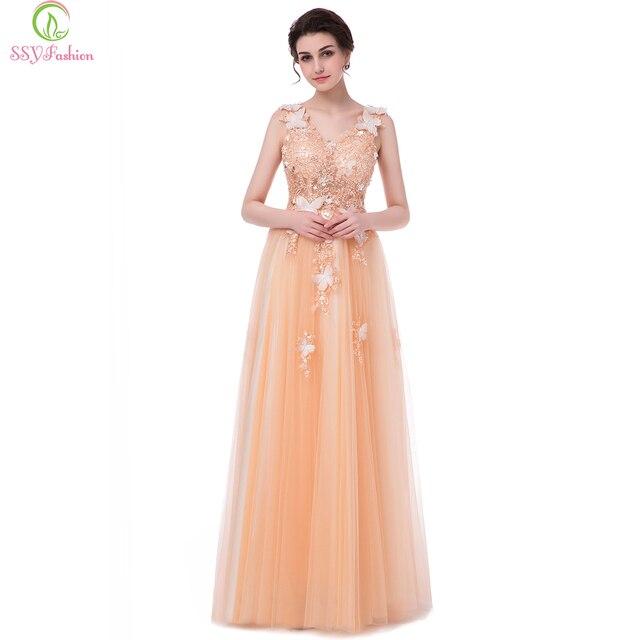 ace7c9d6fc09 SSYFashion New Luxury Lace Champagne Vestido de Noite Banquete Noiva Com  Decote Em V Sem Mangas