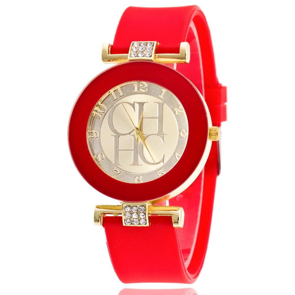 fc597c089 2019 الأزياء جنيف العلامة التجارية عارضة ساعة يد نسائية للجنسين كريستال  سيليكون الكوارت الساعات النساء ووتش