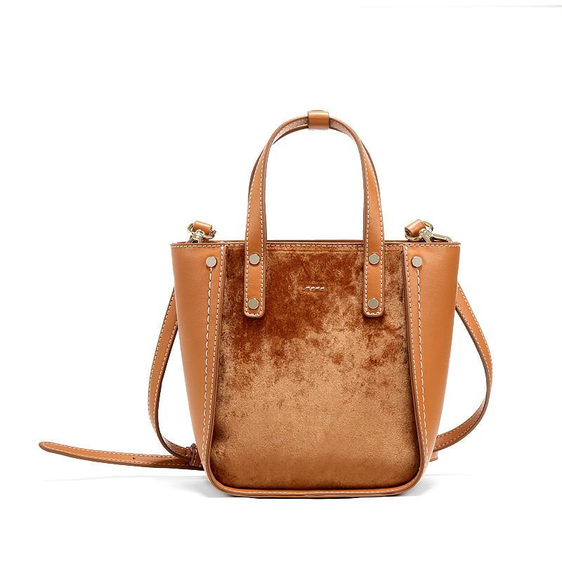 Women Vintage Bucket Bags Designer Velvet Tote Bag Luxury Leather Handbag Shoulder Bags Crossbody For Lady