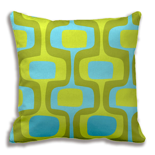 Mid Century Aqua And Chartreuse Retro Pattern Throw Pillow Mesmerizing Chartreuse Pillows Decorative