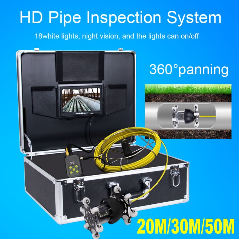 WP70D 20M 30M 50M Fiberglass Cable 360 Degree Rotation Camera with DVR 7 Inch Industrial Pipeline