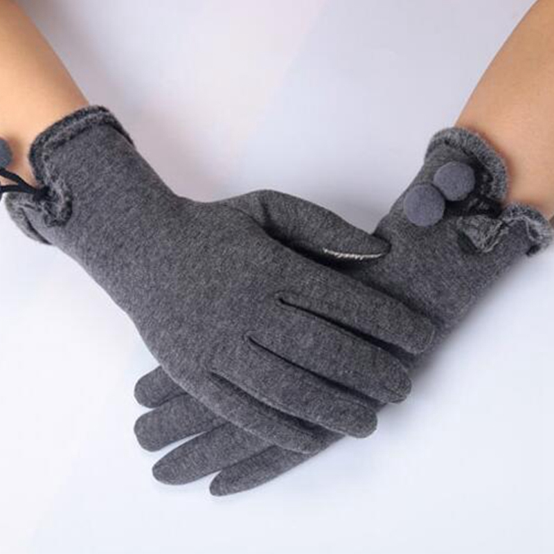 Women Men Touch Screen Winter Gloves Warm Gloves Wrist Mittens Driving Ski luvas de inverno Fashion Small Balls Ladies Guantes