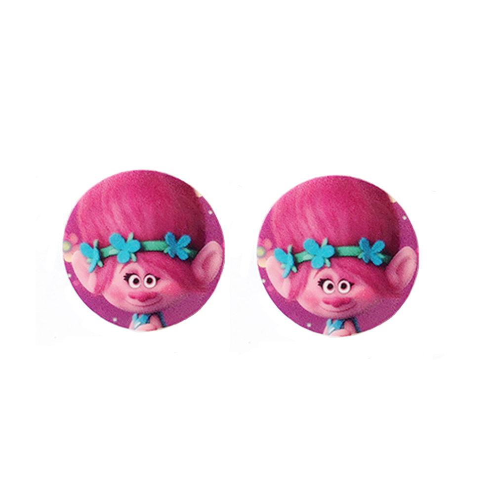 Hair bow button accessories - 30mm 10pcs Trolls Poppy Resin Planar Cabochons Craft Cartoon Anime Characters Kids Girls Hair Bow Center Jewelry Accessories